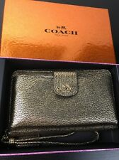 NWT COACH Leather PHONE CLUTH WALLET WRISTLET In Metallic Gold F53675 +receipt