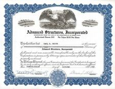 Advance Structures, Incorporated > 1967 Pennsylvania old stock certificate