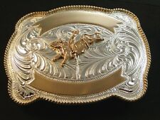 Silver & Gold 2 Tone Western Cowboy Rodeo Bull Riding Belt Buckle by Justin