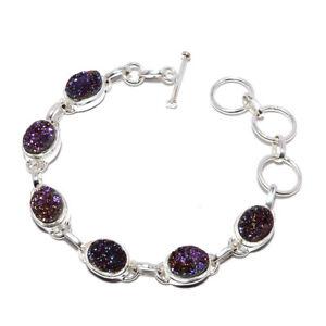 "Agate Drusy Titanium Gemstone 925 Sterling Silver Tennis Bracelet 7.99"" M1531"