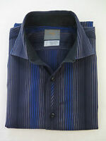 Thomas Dean Long Sleeve Cotton Blue Black Striped Flip Cuffs Casual Shirt Medium