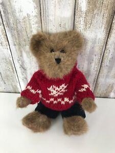 Boyds Bear Plush Red White Knit Sweater Velour Velvet Pants Outfit! SO CUTE!
