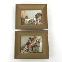 Pair Metallic Foil Country Rural Scene Prints w Deep Wood Frames Vintage