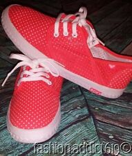 Roxy Hermosa Neon Coral Perforated Lace up Sneakers Casual Tennis Boat Shoes 8.5