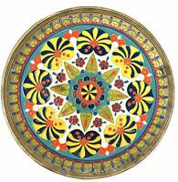 "Brass and Enamel Mandala Hanging Plate Decor 7.5"" Patina Vintage Mid-Century"