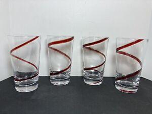 Set 4 PIER 1 Red SWIRLINE Glasses Tumblers 20 Oz.