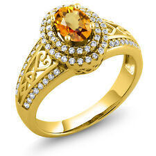 1.41 Ct Oval Yellow Sapphire 18K Yellow Gold Plated Silver Ring