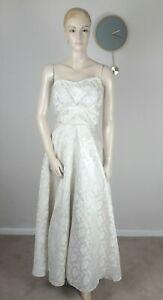 VINTAGE  50S DREAMY IVORY WHITE SATIN BROCADE STRAPLESS FLARE WEDDING DRESS 12