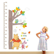 Cute Winnie The Pooh Tree Height Chart Wall Sticker PVC Decal Kids Room Decor