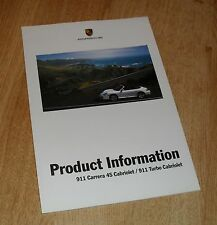 Porsche 911 996 C4S & Turbo Cabriolet Product Information Brochure 2003