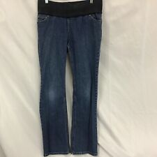Liz Lange Maternity Stretch Jeans Medium Wash Demi Belly Band Size 6 Inseam 30""