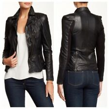 designer muubaa lyra black genuine soft leather fitted biker jacket xs small 6 8