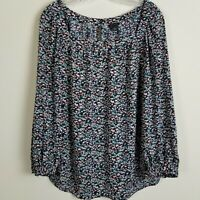 Ann Taylor Ditsy Floral Blouse Top Womens Med 3/4 Sleeve Square Neck Black Multi