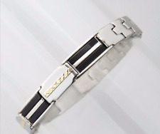 Mens stainless steel  bracelet featuring 14k gold and onyx accents NEW $200