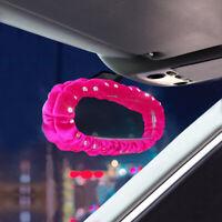 Car Plush Diamante Interior Cover Decor Rearview Mirror Cover Pink Accessories