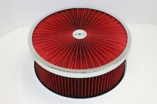 "14"" X 5"" Chrome Round Red High Flow Thru Washable Air Cleaner Drop Base SBC 350"