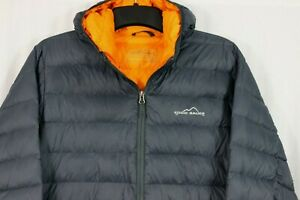 Eddie Bauer Men's L Packable Down Puffer Coat Hooded Full Zip Quilted Jacket