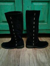 Carlos Santana Knee Tall ,Womens Black Suede Boots, With Silver Studds, SZ 6.5,