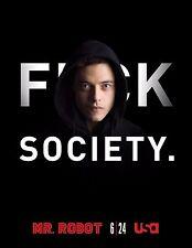 Mr. Robot Season 1 TV Poster (24x36) - Rami Malek, Christian Slater f society v3