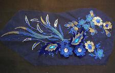 Pieza De Lujo Grande Azul y Dorado Lentejuelas Cuentas Adorno de encaje floral encaje y apliques/