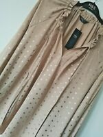 LADIES M&S SIZE 16 18 OR 20 BEIGE ROSE GOLD SHIMMER SPOTS BLOUSE TOP FREE POST