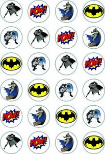 24 x Edible Cupcake Toppers - Rice / Wafer Paper - Perfect for Batman Fans