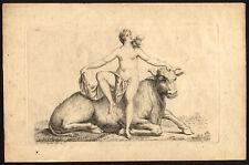 Antique Master Print-BULL-COW-NAKED WOMAN-Cardon-Herreyns-1750