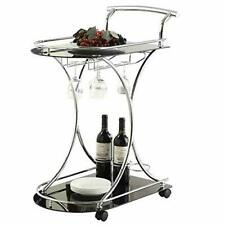 Black Glass Metal Beverage Cart Serving Bar Rolling Wine Storage Portable Party