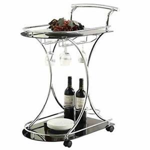 Black Glass Metal Beverage Cart Serving Bar Rolling Wine Storage Portable Party