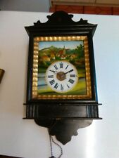 Antique Wall Clock with Painted Glass Dial - Not Working (698)