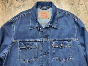 Levi Strauss Mens Dark Blue Denim Trucker Jacket 100% Cotton 70570 06  XXL 2xl