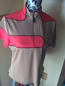 Jamie Sadock Womens Half Zip Stretch Golf Shirt Top Color Brown/Pink Size Large