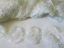 VINTAGE EMBROIDERED ORGANZA TRIM    50mm wide,  3 metre length