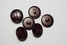 6pc 20mm Brown Mock Leather Woven Effect Coat Cardigan Kids Button 2664