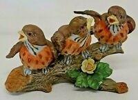 Chirping Birds Perched Aviary Home Decor Tree Branch Singing Robin Flower Nature