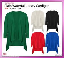 New Ladies Women Plain Edge To Edge Waterfall Jersey Cardigan Plus Sizes 16-24