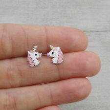Pink Unicorn Post Earrings - 925 Sterling Silver - Magical Flying Horse Studs