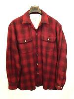 Vintage Eddie Bauer L Red Black Plaid Wool Shirt Button Chest Pockets Mens Lg
