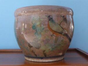 Old Ceramic Porcelain Sugar Bowl With Bird Motif