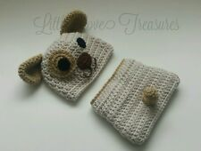 Newborn Baby Brown Puppy Dog Hat Diaper Cover Crochet Photo Prop Outfits Clothes