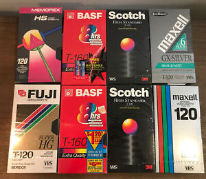 Lot Of 8 VHS Blank Video Cassette Tapes T-160 T-120 8-6 Hr Memorex Fuji Maxell