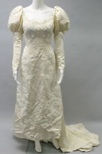 PRISCILLA OF BOSTON Ivory Bead Embellished Floral Print Wedding Dress With Veil