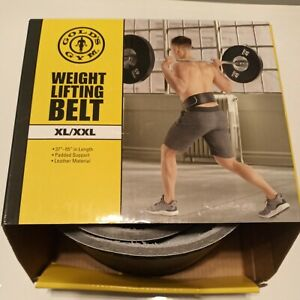 """New Golds Gym Weight Lifting Leather Belt  XL/XXL 37""""-55""""  Padded Support"""