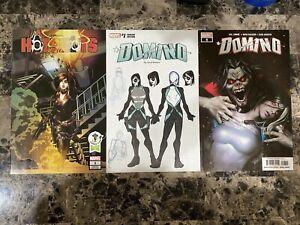 Lot of 3 Marvel DOMINO Comics - #1 Variant, #8, HOTSHOTS #1 Emerald City Variant