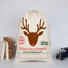 Christmas Santa Sacks Cotton Drawstring Canvas Candy Cane Bag Gift Holders  ZB