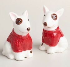 Set of 2 New Ceramic Bull Terrier Salt and Pepper Shakers Kitchen Puppy Dog