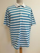 DD802 MENS ADIDAS GOLF BLUE WHITE STRIPED S/SLEEVE POLO SHIRT UK L EU 52