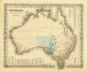 """Vintage world map Australia Poster Print painting old for glass frames 36"""" x 24"""""""