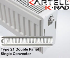 Kartell K-Rad Double Panel Type 21 Compact Radiator 600mm High- various widths