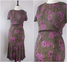 Vintage 1980s Batwing Dress Floral RETRO Midi Secretary Boho Party Dress M